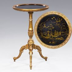 Part of the Chinoiserie collection. Top has hand painted image of fishermen on a river . Hand carved rim and French cabriole pedestal.
