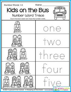Every year at the beginning of the year kids get to learn all the rules of how to behave nicely, including on the bus! In this worksheet your kids count how many kids are sitting nicely in each set and trace the number words one through five. Please take a look at my entire set of Back to School Counting Worksheets! There's 30 pages of counting fun with a back to school and fall theme. Counting Worksheets For Kindergarten, Back To School Worksheets, Graphing Worksheets, Alphabet Tracing Worksheets, Counting For Kids, Kids Count, Writing Lines, Upper And Lowercase Letters, Number Words