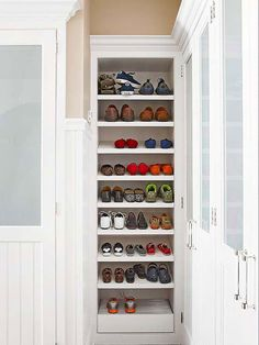 Don't let narrow spaces go to waste! See how this small space became a necessary closet expansion: http://www.bhg.com/home-improvement/advice/expert-advice/remodel-to-add-storage-/?socsrc=bhgpin110714includeshoestorage&page=8