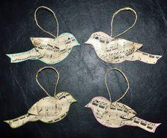 Bird sheet music Christmas tree ornaments
