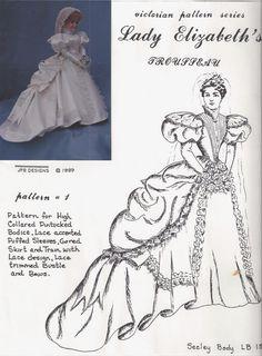 "18""ANTIQUE FRENCH FASHION LADY DOLL@VICTORIAN BRIDE BUSTLE GOWN/DRESS PATTERN | eBay"