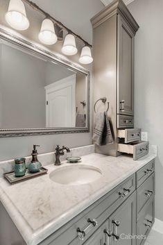 Stunning, elegant bathroom featuring our Bronson Maple Creek Stone cabinets. Bathroom Counter Cabinet, Bathroom Standing Cabinet, Vanity Cabinet, Green Cabinets, Grey Kitchen Cabinets, Discount Cabinets, Grand Kitchen, Cabinet Design, Cabinet Ideas