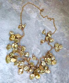 Gold keshi pearl necklace https://www.etsy.com/shop/TransfigurationsJlry?ref=si_shop