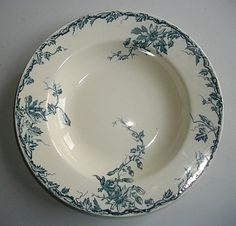 Pair of Antique French bowls soup / plates . Beautiful passiflora blue flowers pattern . Marked KG LUNEVILLE circa 1900 -1920