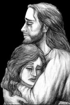 Jesus comforts us. Prophetic art.