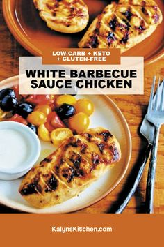 White Barbecue Sauce Chicken is tasty and unique, so don't miss out on trying this tasty low-carb version of Alabama Chicken cooked on the grill! [found on KalynsKitchen.com] #KalynsKitchen #GrilledChicken #GrilledChickenWhiteBarbecueSauce #WhiteBarbecueSauce #LowerCarbBarbecueSauce
