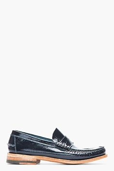 Beautiful. N.D.C. Made by Hand Navy Patent Leather Bachelor Luxor Penny Loafers for men | SSENSE