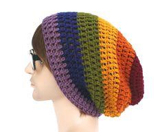Dark Muted Rainbow Slouch Beanie Pride by GlamourDamaged on Etsy
