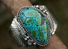 Cuff | Designer ? (South West, New Mexico). Blue Boy turquoise and sterling silver. Signed DE sterling. Vintage.