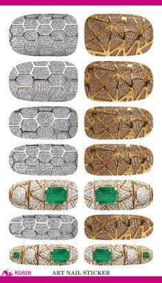 K5626 New Nail Art Stickers Metallic Jewel Fantasy Water Transfer Nail Tattoo Foils Decal Minx Manicure Decor Tools Nail Wraps