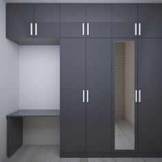 Beautifully designed wardrobe with study unit has elegant color combinations. Wardrobe Laminate Design, Wall Wardrobe Design, Sliding Door Wardrobe Designs, Wardrobe Interior Design, Wardrobe Room, Bedroom Cupboard Designs, Bedroom Cupboards, Bedroom Closet Design, Bedroom Furniture Design