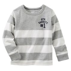 Boys 4-8 OshKosh B'gosh® Long Sleeve Embroidered Chest Striped Tee, Boy's, Size: 4, Grey
