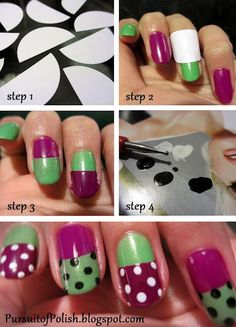 for an abstract look use tape after base coat is dry to do second color and pencil tips to make the dots!
