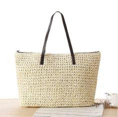 GSP Women Straw Shoulder Beach Bag Colour White