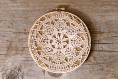 I have a doily inside a vintage hoop already, but this makes me realize exactly what it was missing. #decor #doilies #burlap