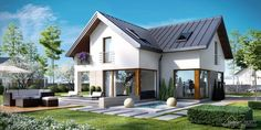 Projekt domu HomeKONCEPT-09 | HomeKONCEPT Modern House Plans, Modern House Design, Style At Home, House With Porch, Home Fashion, Exterior Design, Home Projects, Bungalow, Building A House