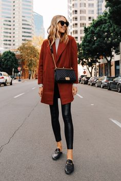 Fashion Jackson Wearing Topshop Red Wool Coat Grey Sweater Commando Faux Leather Leggings Gucci Mules Chanel Black Boy Bag Source by fashion_jackson autumn Legging Outfits, Leather Leggings Outfit, Leder Outfits, Spanx Faux Leather Leggings, Tribal Leggings, Red Leggings, Style Casual, Casual Outfits, Girl Outfits