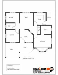 Good 1320 Sqft Kerala Style 3 Bedroom House Plan From Smart Home Gf Plan Simple House Plan With 3 Simple House Plans 4 Bedroom House Plans Bedroom House Plans