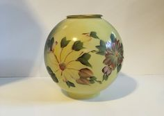 Vintage Hand Painted Lamp Globe, Replacement Globe, Glass Globe, Floral Glass Globe, Yellow, Green, Purple, Leaves