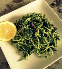 Spiralised zucchini pasta with pesto