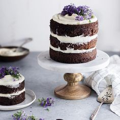 Rustic Chocolate Lavender Layer Cake shot using artificial light in an @everythingfoodconference demo. Now to get back home and bake a slew of these babies for my baby sister's wedding this weekend! . #cake #chocolate #chocolatecake #lavender @thefeedfeed #thefeedfeed #f52grams #onmytable #thatsdarling #foodphotography #foodphotographer