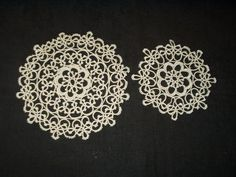 2 Vintage 1920s 1940s Hand Tatted Tatting Lace Table Doily Mats