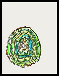 Option-G :: art direction-design-illustration-animation. Green geode watercolor print