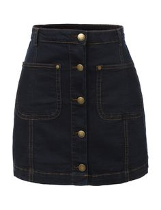 LE3NO  Womens Vintage Denim A-Line Button Down Mini Skirt