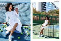 Brianna hits the court in crisp white fashions