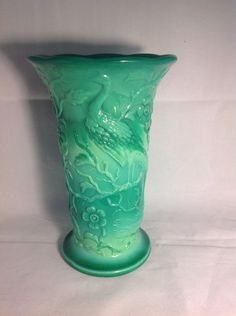 "Fenton Mongolian Green Peacock Flared Vase 8"" No. 791 Circa 1934-35"
