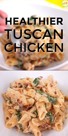 creamy and healthy Tuscan Chicken Pasta will satisfy your craving without the calories! It's an easy healthy chicken recipe that your family will love, and you can cook it in your Instant Pot, slow cooker, or on the stove. 21 Day Fix Tuscan Chicken Pasta Instant Pot Dinner Recipes, Easy Dinner Recipes, Easy Meal Ideas, Easy Dinners, Dinner Ideas, Breakfast Recipes, Dessert Recipes, Pasta Facil, Tuscan Chicken Pasta