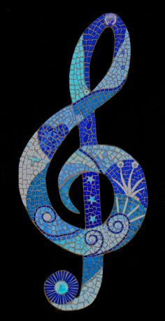 Blue Stained Glass Mosaic Music Note #music #mosaic #blues