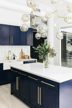 Uplifting Kitchen Remodeling Choosing Your New Kitchen Cabinets Ideas. Delightful Kitchen Remodeling Choosing Your New Kitchen Cabinets Ideas. Kitchen Dining, Kitchen Decor, Kitchen Lamps, Blue Kitchen Ideas, Kitchen Chandelier, Globe Chandelier, Decorating Kitchen, Art Deco Kitchen, Kitchen Mat