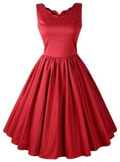 Vintage Style V-Neck Sleeveless Solid Color Women's Dress
