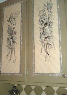 Flower and Garden Tool Designs Painted on Cabinet Doors Organisation Ideas, Green Home Decor, Door Ideas, Laundry Rooms, Cabinet Doors, Peridot, Painted Furniture, Floral Arrangements, Garden Tools