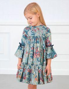 Girls blue floral print dress Abel&Lula - My CMS Girls Dresses Sewing, Stylish Dresses For Girls, Frocks For Girls, Little Girl Dresses, Toddler Dress, Baby Dress, The Dress, Little Girl Fashion, Kids Fashion