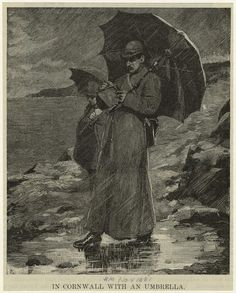 """In Cornwall with an umbrella"" - From ""Harper's Weekly"" magazine - November 1881"