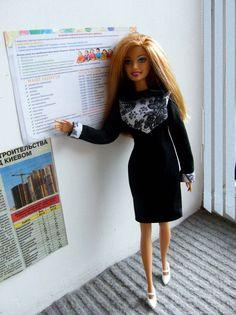 Строгое деловое платье из барби-моды перестраивала [id9658736|Ірина Босак] <br>#сам_себе_конструктор