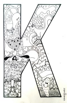 Boyama sayfası Alphabet Letters To Print, Alphabet Art, Printable Letters, Alphabet Activities, Pencil Art Drawings, Doodle Drawings, Coloring Book Pages, Coloring Sheets, Letter K Design