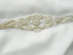 Bridal Sash, Beaded Sash Wedding Dress Sash, Rhinestone Sash, Rhinestone and Pearls Sash Belt Crystals and Satin Tie. A Beautiful Sash. $95.00, via Etsy.