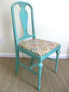 chalk paint for furniture | chalk painting/painted furniture / Antique turquoise chair with silver ...