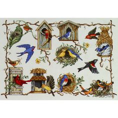 A BIRD For ALL SEASONS Cross Stitch Kit Judy Hand Cardinal Blue Bird Bird Houses by NeedleLittleTherapy on Etsy Crewel Embroidery Kits, Embroidery Thread, Vintage Cross Stitches, Star Work, Metallic Thread, Cross Stitch Kits, Christmas Greetings, Accent Colors, Bird Houses