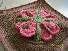 Blooming Hearts 12 Inch Afghan Square