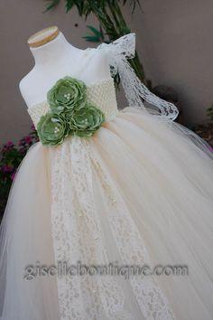 Flower girl dress. Ivory and Beige with Mint Roses TuTu Dress. baby tutu dress, toddler tutu dress, wedding, birthday, Newborn,