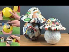 Easy How to Make Basic Giant Paper Mache Mushrooms Paper Mache Projects, Paper Mache Clay, Paper Mache Crafts, Clay Art, Mushroom Crafts, Mushroom Decor, Cement Crafts, Mad Hatter Tea, Festival Decorations