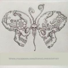 Skull Butterfly                                                                                                                                                                                 More Cute Tattoos, New Tattoos, Beautiful Tattoos, Body Art Tattoos, Tatoos, Skin Art, Sugar Skull Tattoos, Sugar Skull Art, Sugar Skulls