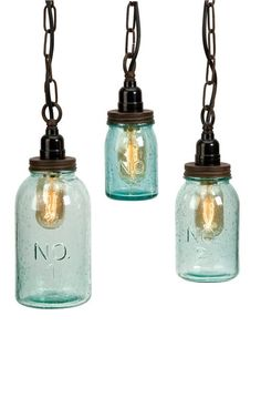 Mason Jar Pendants... perfect for our patio :)