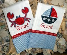 Monogrammed Nautical Crab And Sailboat Burp Cloth Set by Blumers Embroidery