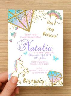 Unicorn Invitation #2 -- PERSONALISED --