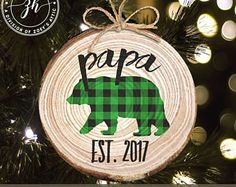 Christmas papa bear wood slice ornament MWO-025